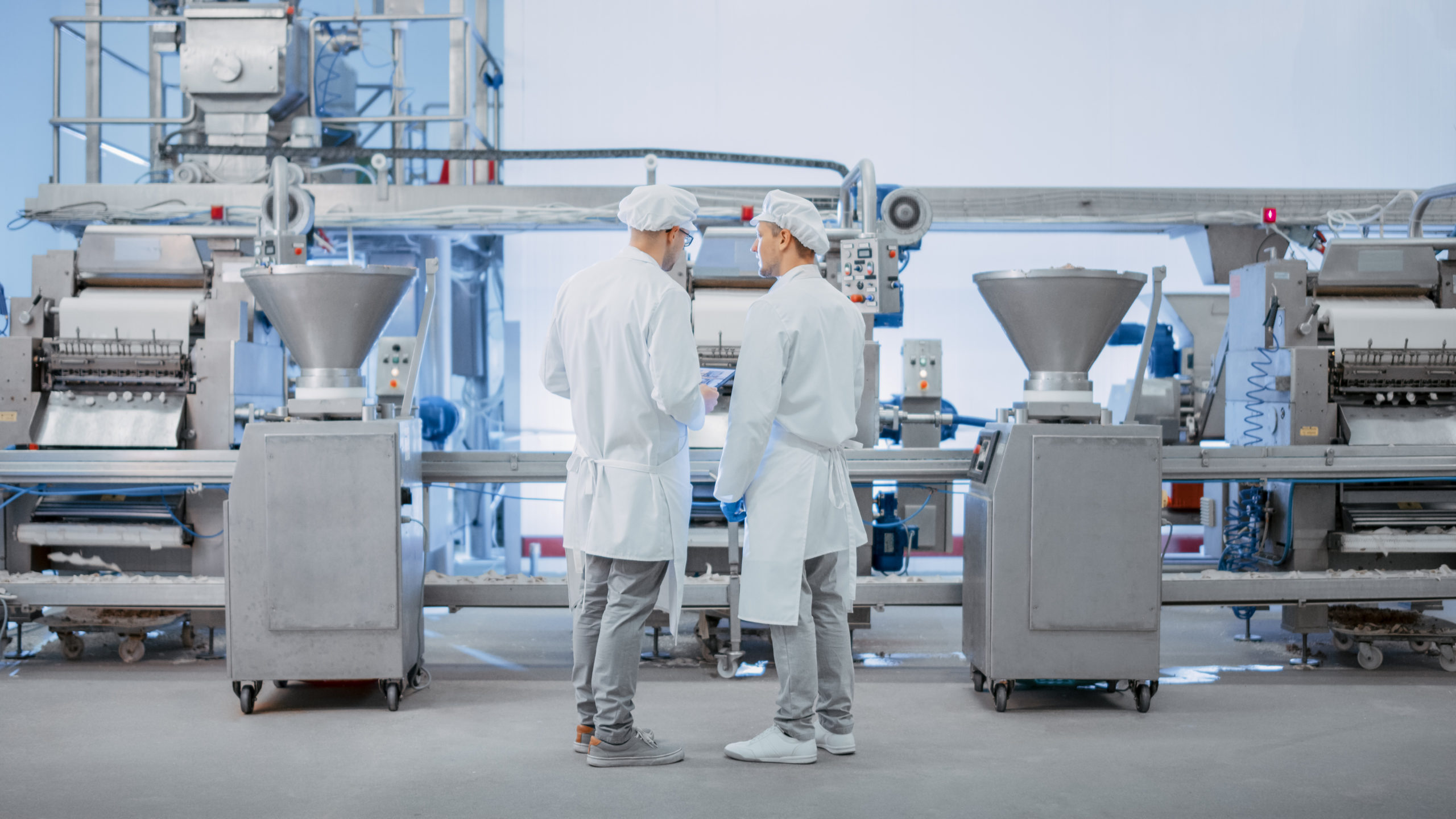 Two,Young,Food,Factory,Employees,Discuss,Work-related,Matters.,Male,Technician